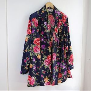 Vintage Floral Silky Gold Button Blouse
